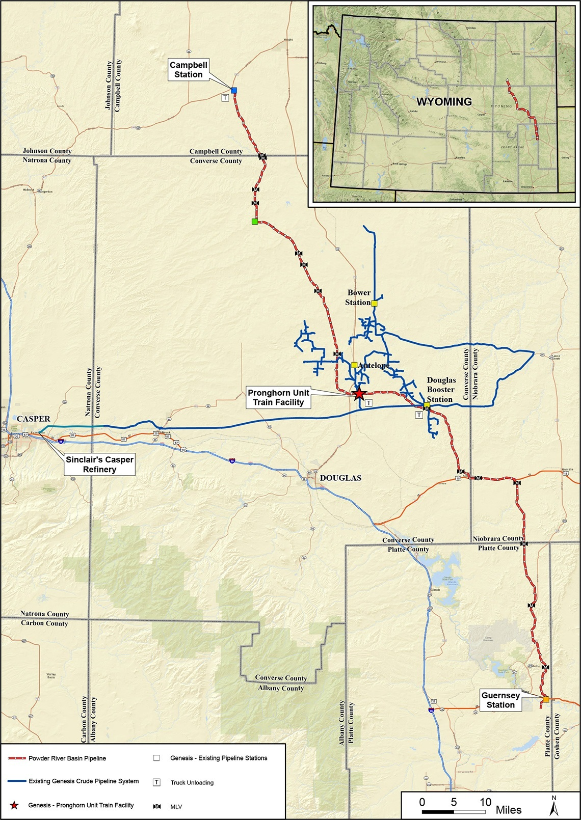 Powder River Wyoming Map.Asset Pipelines Wyoming Genesis Energy